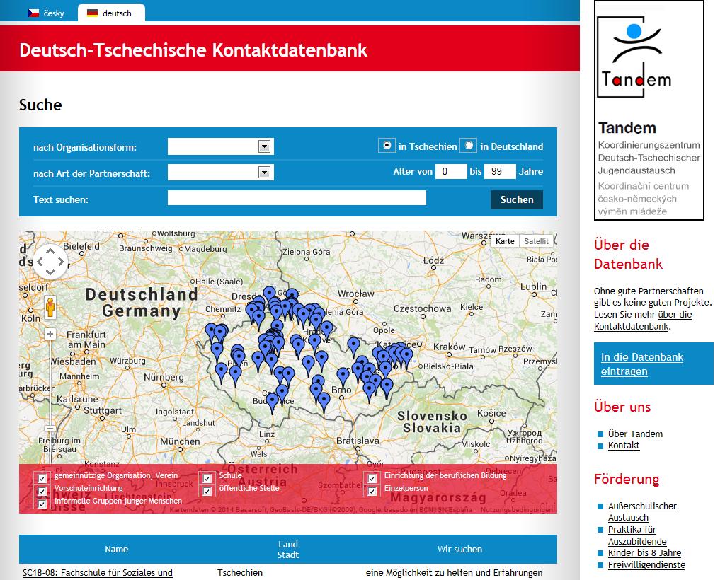 Screenshot Tandem-Kontaktdatenbank