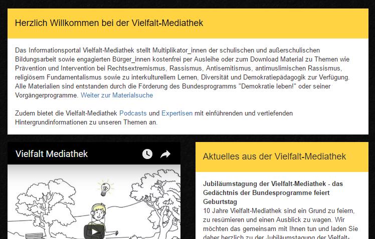 Screenshot Vielfalt-Mediathek